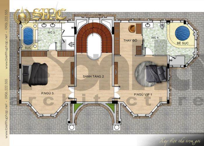 Chi tiết mặt bằng công năng tầng 2 biệt thự lâu đài diện tích 163,9m2 tại Hà Nội