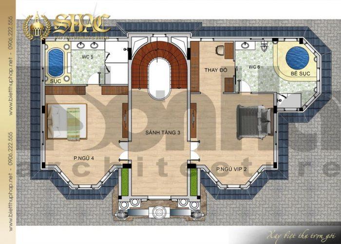 Chi tiết mặt bằng công năng tầng 3 biệt thự lâu đài diện tích 163,9m2 tại Hà Nội