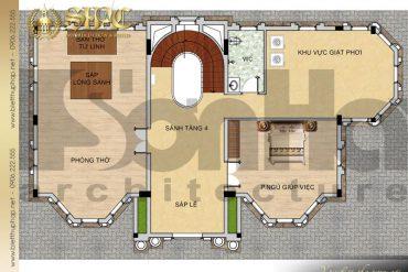 8 Mặt bằng công năng tầng 4 biệt thự lâu đài 4 tầng 1 tum tại hà nội sh btld 0040