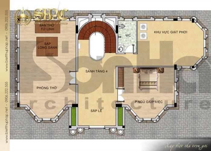 Chi tiết mặt bằng công năng tầng 4 biệt thự lâu đài diện tích 163,9m2 tại Hà Nội