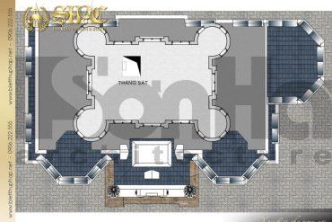 9 Bản vẽ tầng tum biệt thự lâu đài phong cách châu âu tại hà nội sh btld 0040