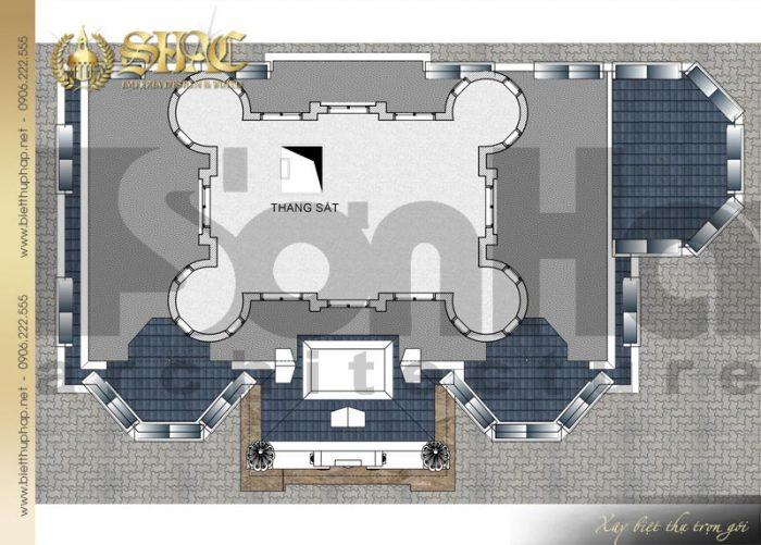 Chi tiết mặt bằng công năng tầng tum biệt thự lâu đài diện tích 163,9m2 tại Hà Nội
