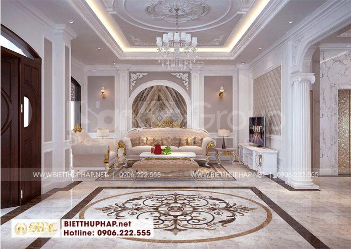 Toàn cảnh không gian phòng khách biệt thự tân cổ điển với thiết kế nội thất sang trọng, độc đáo