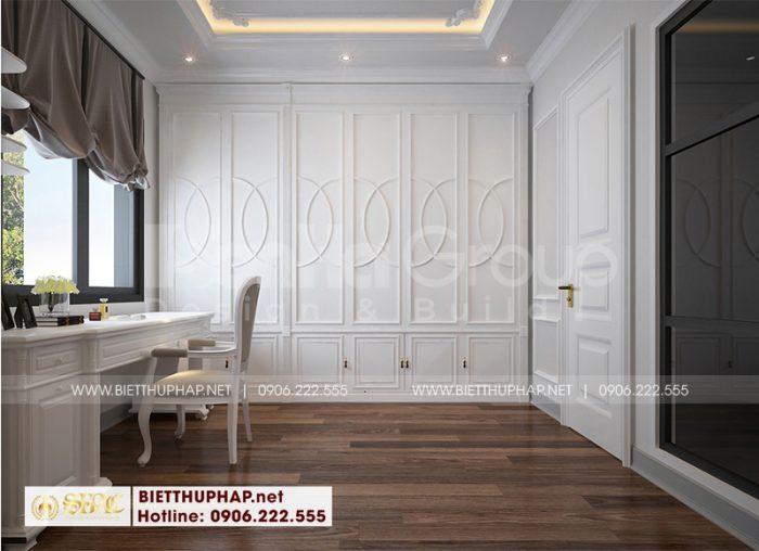 Không gian nội thất phòng ngủ đẹp với nội thất gỗ màu trắng và sàn gỗ công nghiệp
