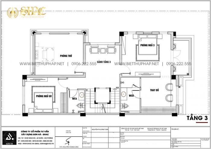 Bản vẽ chi tiết mặt bằng công năng tầng 3 biệt thự song lập tân cổ điển tại KĐT Vinhomes Imperia Hải Phòng