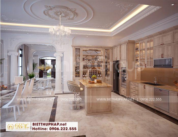 Không gian phòng bếp ăn biệt thự ấm cúng với cách phối hợp đồ nội thất với màu sắc trang nhã