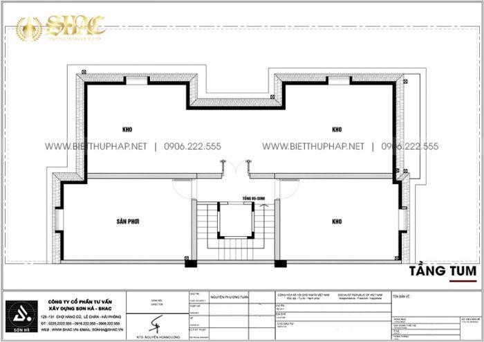 Bản vẽ chi tiết mặt bằng công năng tầng tum biệt thự song lập tân cổ điển tại KĐT Vinhomes Imperia Hải Phòng