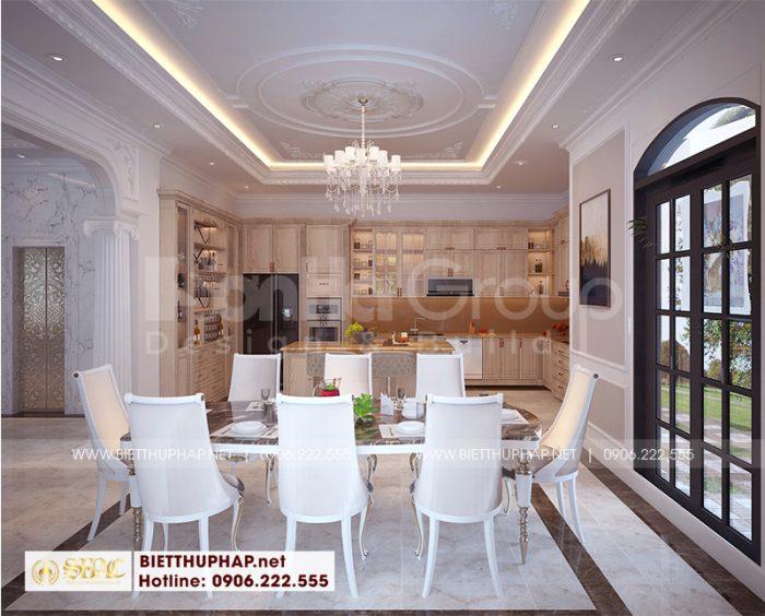 Với gam màu nâu gỗ trầm ấm kết hợp với sắc trắng của bộ bàn ăn hứa hẹn sẽ mang đến không gian sum vầy bên những bữa ăn cho cả gia đình
