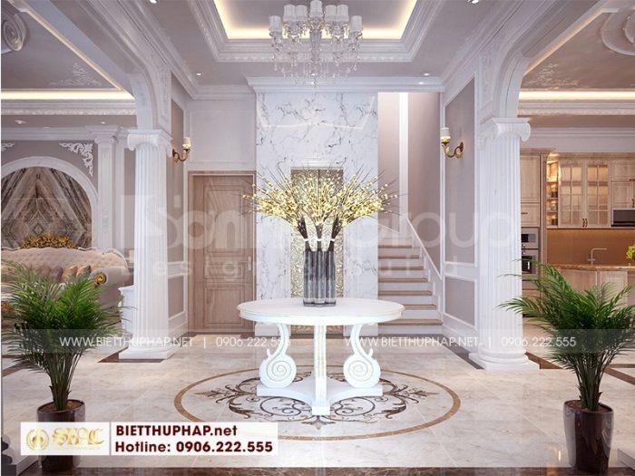Mẫu thiết kế sảnh thang biệt thự được chủ đầu tư đánh giá cao bởi cách bố trí, màu sắc hài hòa
