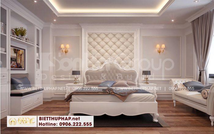 Mẫu trang trí phòng ngủ biệt thự với nội thất tân cổ điển tinh tế, màu sắc hợp thời