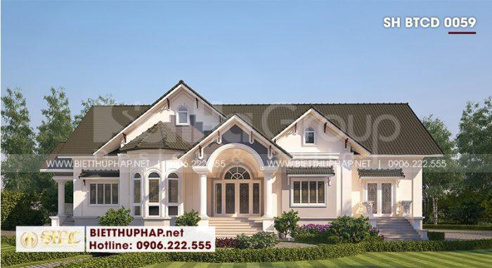 Kiến trúc ngôi biệt thự 1 tầngmang nét đẹp trang nhã và tinh tế của dòng kiến trúc tân cổ điển thu hút mọi ánh nhìn