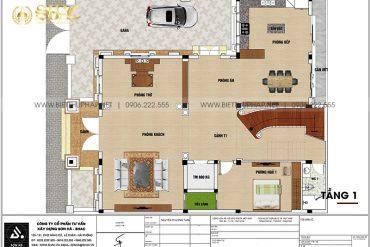 3 Mặt bằng tầng 1 biệt thự lâu đài mặt tiền 10,15m tại hà nội sh btld 0041