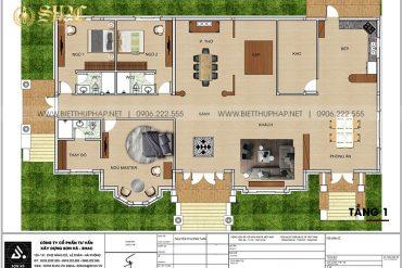 3 Mặt bằng tầng 1 biệt thự mái thái kiểu tân cổ điển tại vĩnh long sh btcd 0059