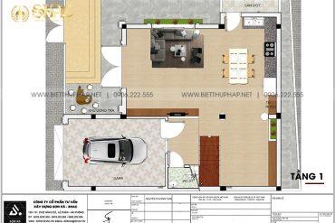 3 Mặt bằng tầng 1 biệt thự mặt tiền 8,6m kiểu tân cổ điển tại hải phòng sh btcd 0058