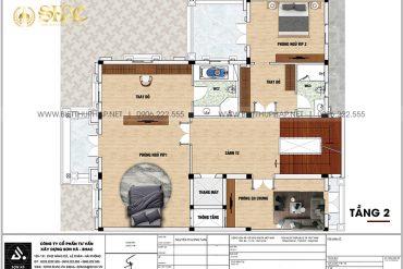 4 Bản vẽ tầng 2 biệt thự lâu đài phong cách châu âu tại hà nội sh btld 0041
