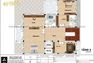 5 Mặt bằng tầng 3 biệt thự lâu đài 3 tầng 1 tum tại hà nội sh btld 0041