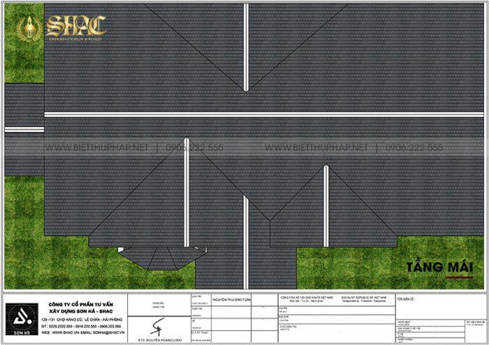Chi tiết công năng tầng mái nhà biệt thự 1 tầng tân cổ điển mặt tiền 23,35m dài 15,3m tại Vĩnh Long