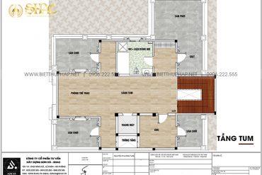 6 Bản vẽ tầng tum biệt thự lâu đài mặt tiền 10,15m tại hà nội sh btld 0041