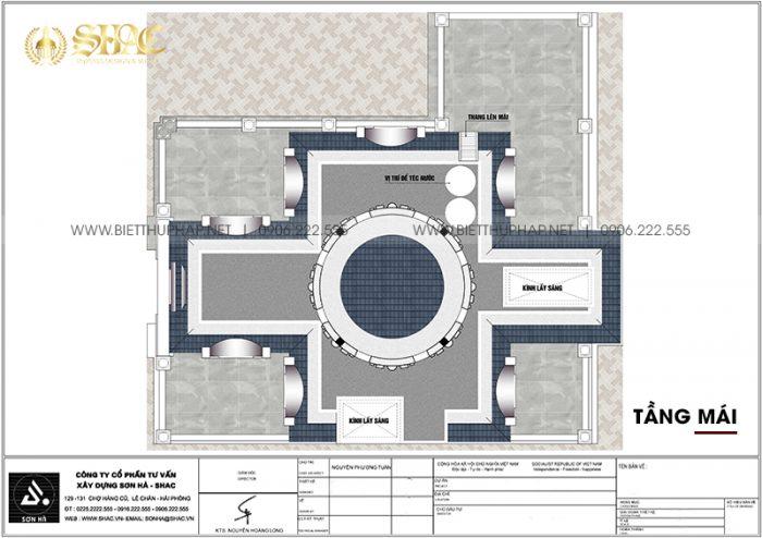 Mặt bằng công năng tầng mái biệt thự lâu đài xa hoa 3 tầng 1 tum tại Hà Nội