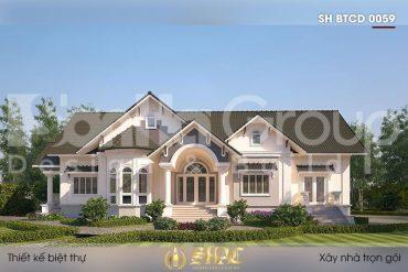 BÌA thiết kế biệt thự mái thái 1 tầng kiểu tân cổ điển tại vĩnh long sh btcd 0059
