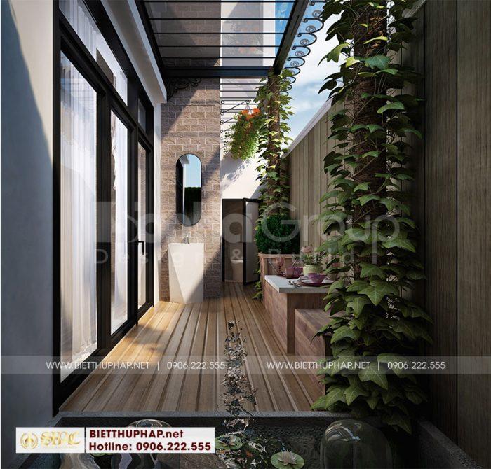 Chiêm ngưỡng tiểu cảnh sân vườn thiết kế nhỏ xinh của biệt thự tân cổ điển Vinhomes Imperia Hải Phòng
