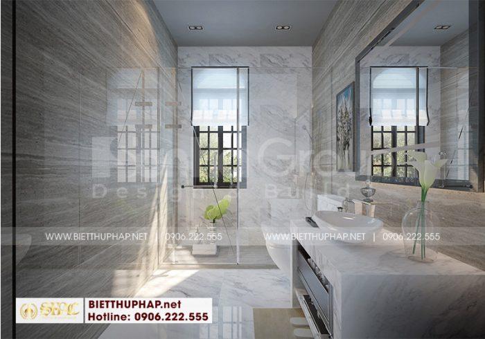 Thiết kế nội thất phòng tắm và nhà vệ sinh hiện đại, đầy đủ tiện nghi