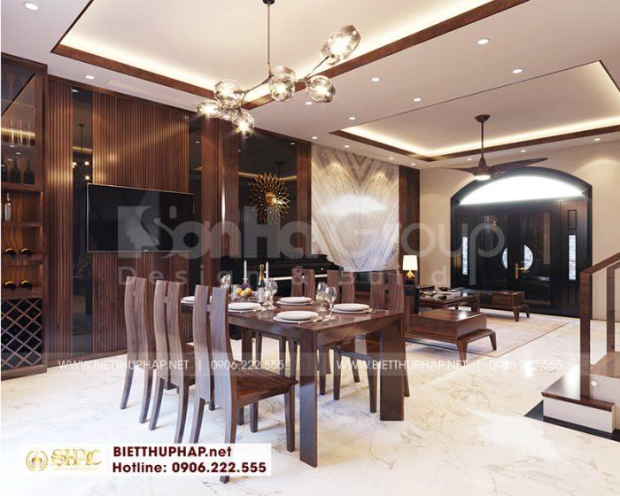 Thiết kế nội thất phòng bếp ăn với nội thất gỗ bền, đẹp và tiện nghi
