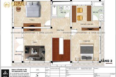 4 Bản vẽ tầng 2 biệt thự kiểu tân cổ điển đẹp tại ninh bình sh btcd 0061