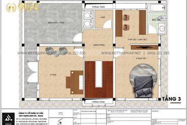 5 Mặt bằng tầng 3 biệt thự 3 tầng tân cổ điển tại ninh bình sh btcd 0061