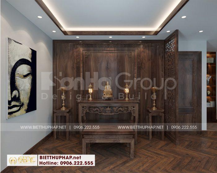 Mẫu thiết kế nội thất phòng thờ đẹp bằng gỗ tự nhiên sang trọng, uy nghi và hợp phong thủy được chủ nhân đánh giá cao