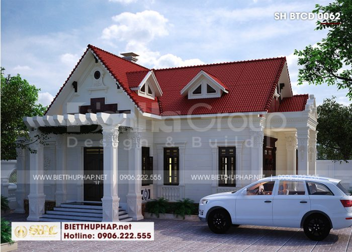 Mẫu biệt thự mái thái 1 tầng 10m x 13m phong cách tân cổ điển mang đến không gian đáng sống nhất cho chủ đầu tư
