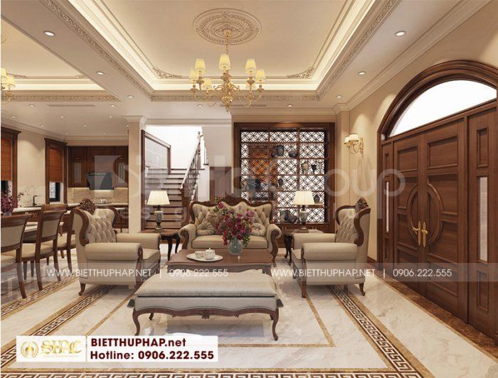 Thiết kế nội thất biệt thự tân cổ điển 10,12m x 12,32m 3 tầng tại Vinhomes Imperia Hải Phòng