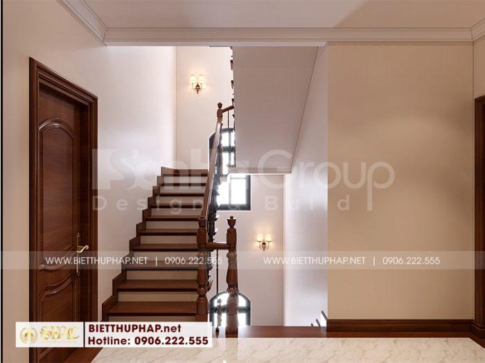 Thiết kế không gian sảnh thang rộn rãi theo phong cách tân cổ điển tinh tế được chủ đầu tư đánh giá cao