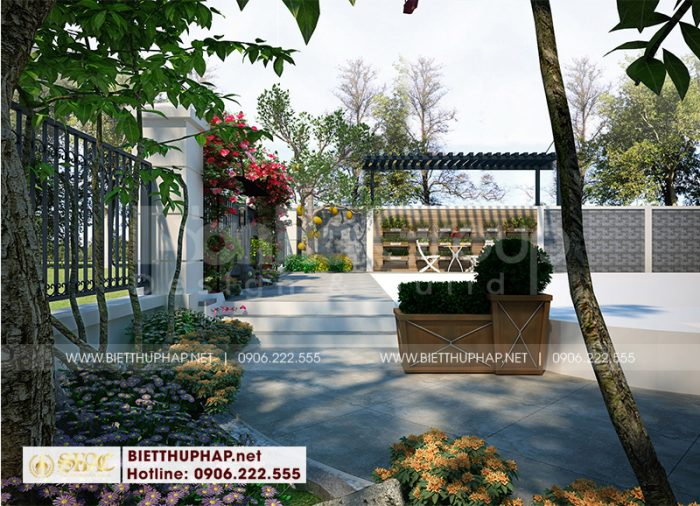 Bố trí tiểu cảnh sân vườn xanh mát theo yêu cầu mà chủ đầu tư đặt ra