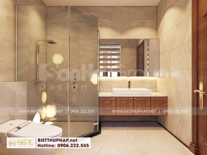 Mẫu nội thất phòng tắm – WC biệt tân cổ điển đẹp bố trí trong mỗi căn phòng ngủ biệt thự