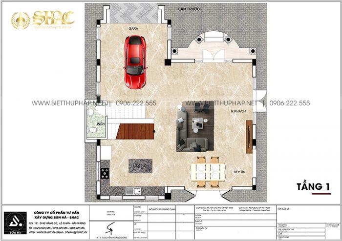 Phương án bố trí công năng tầng 1 biệt thự tân cổ điển mặt tiền 10m12 dài12m32 tại Vinhomes Imperia Hải Phòng