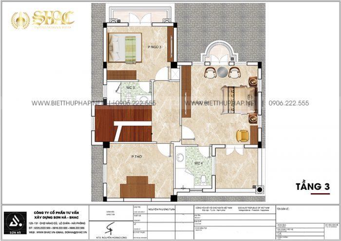 Phương án bố trí công năng tầng 3 biệt thự tân cổ điển mặt tiền 10m12 dài12m32 tại Vinhomes Imperia Hải Phòng