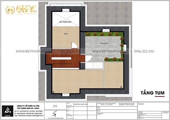 Phương án bố trí công năng tầng áp mái biệt thự tân cổ điển mặt tiền 10m12 dài12m32 tại Vinhomes Imperia Hải Phòng