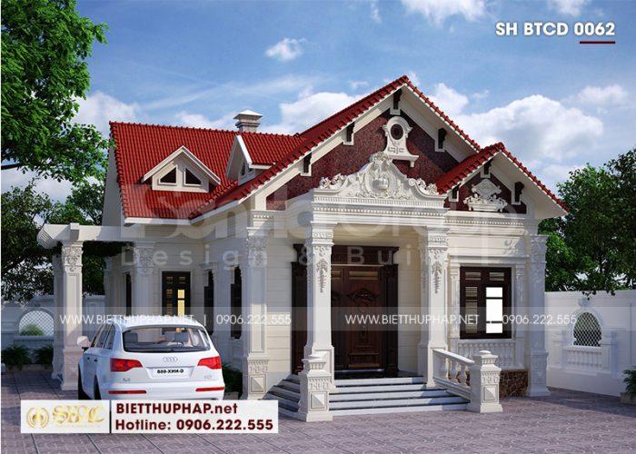 Mẫu biệt thự mái thái 1 tầng tại Hải Phòng sở hữu kiến trúc được thiết kế mang đậm dấu ấn tân cổ điển đẹp nhẹ nhàng