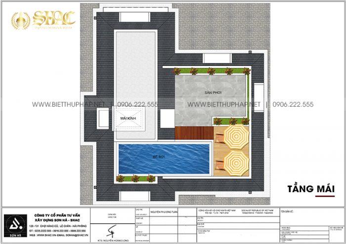 Phương án bố trí công năng tầng mái biệt thự tân cổ điển mặt tiền 10m12 dài12m32 tại Vinhomes Imperia Hải Phòng
