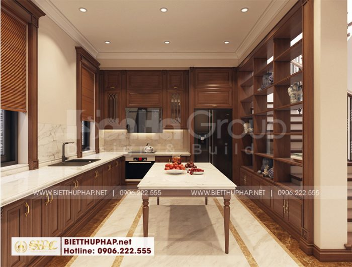 Không gian phòng bếp đẹp có thiết kế nội thất gỗ tự nhiên bền đẹp theo đúng nguyện vọng của gia chủ