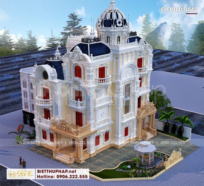 Phối cảnh thiết kế biệt thự lâu đài vương giả 4 tầng + tum uy nghi, vững chãi tại Long An