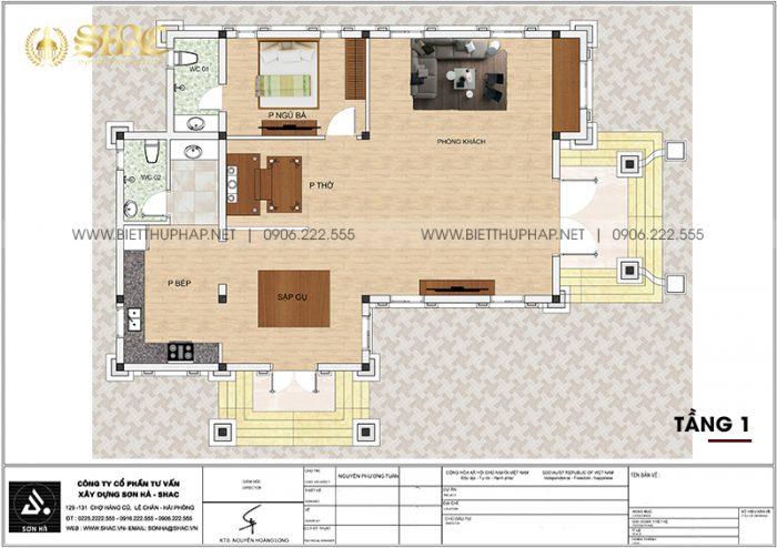 Bản vẽ chi tiết công năng biệt thự tân cổ điển mái thái 1 tầng tại Hải Phòng