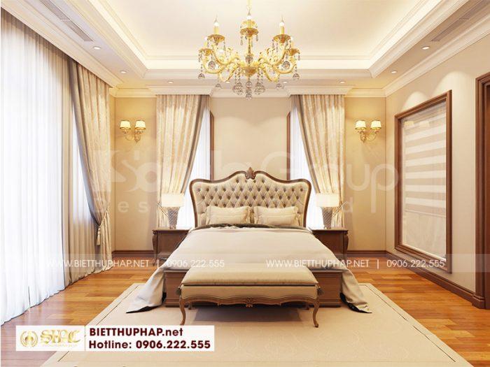 Thiết kế nội thất phòng ngủ với phong cách tân cổ điển mang đến không gian lãng mạn, nhẹ nhàng dành cho vợ chồng gia chủ