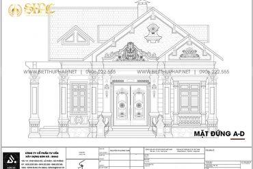 7 Bản vẽ mặt đứng trục a d biệt thự mái thái tân cổ điển tại hải phòng sh btcd 0062
