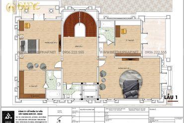 8 Bản vẽ lầu 1 biệt thự lâu đài 4 tầng tại long an sh btld 0042