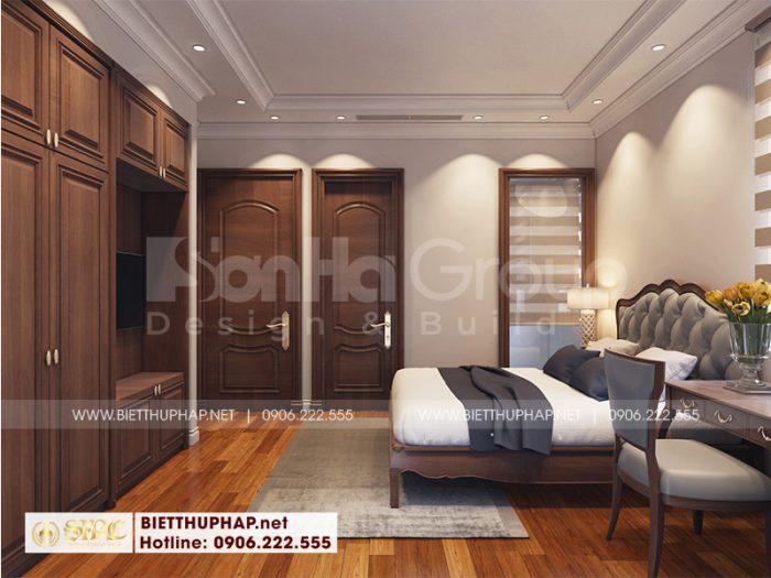Thiết kế nội thất phòng ngủ mang hơi hướng tân cổ điển cùng cách bài trí khoa học và bắt mắt hứa hẹn mang tới một chốn nghỉ ngơi lý tưởng cho chủ nhân