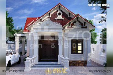 BÌA thiết kế biệt thự mái thái 1 tầng kiểu tân cổ điển tại hải phòng sh btcd 0062