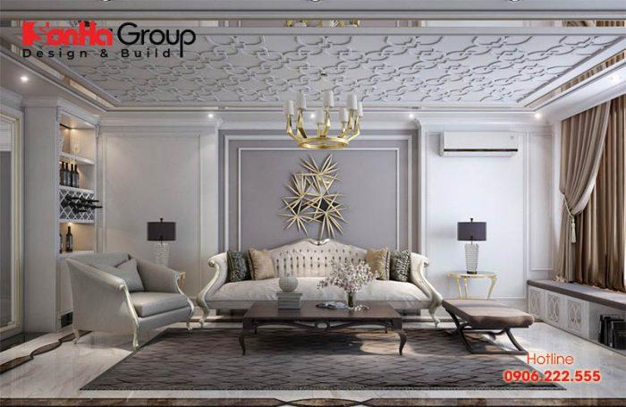 Phương án thiết kế nội thất phòng khách dành cho biệt thự phong cách Pháp cực sang