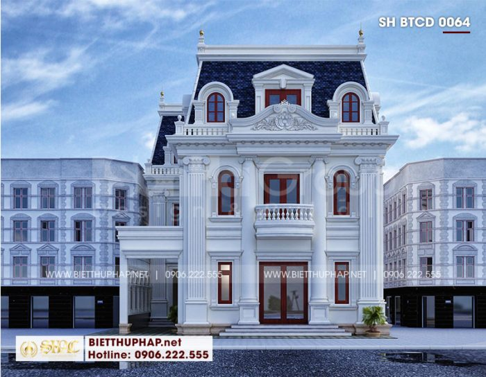 Phương án thiết kế kiến trúc mặt tiền tân cổ điển mãn nhãn và trang trọng của mẫu nhà biệt thự 3 tầng tại An Giang chinh phục mọi ánh nhìn